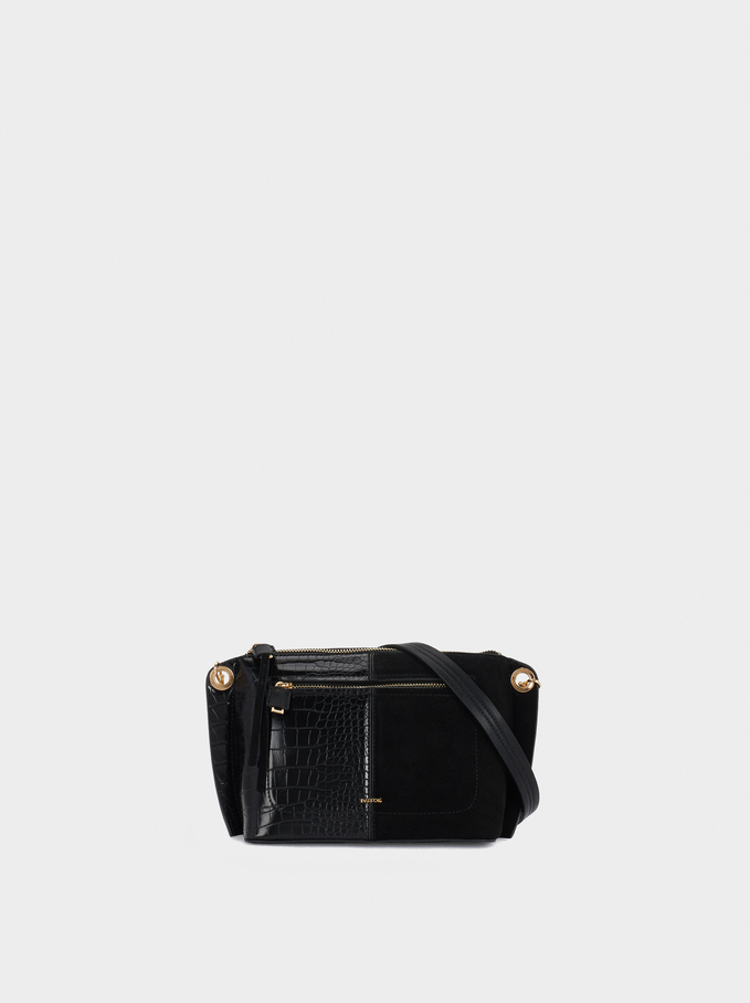 Suede Crossbody Bag, Black, hi-res