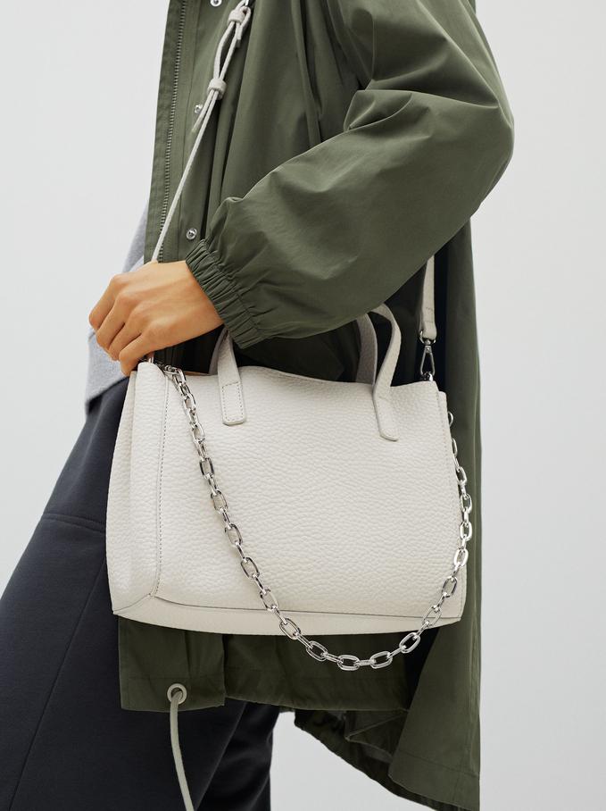 Tote Bag With Removable Interior, Ecru, hi-res