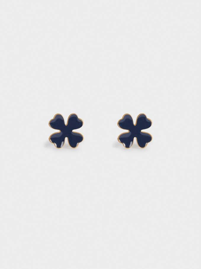 Boucles D'Oreilles Courtes En Acier Trèfle, Bleu, hi-res