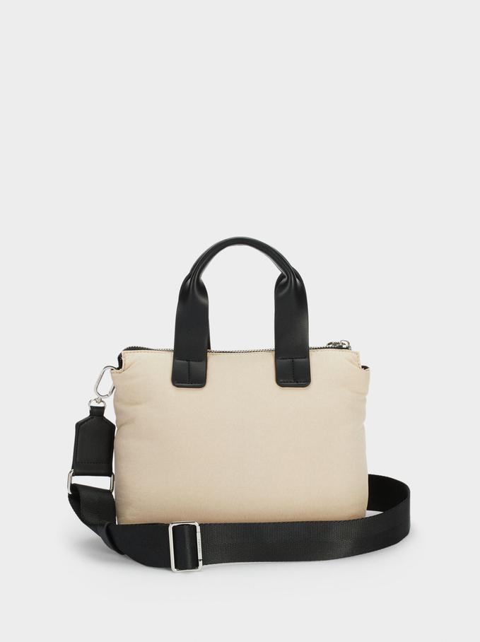 Nylon Shopper Bag Made From Recycled Materials, Ecru, hi-res