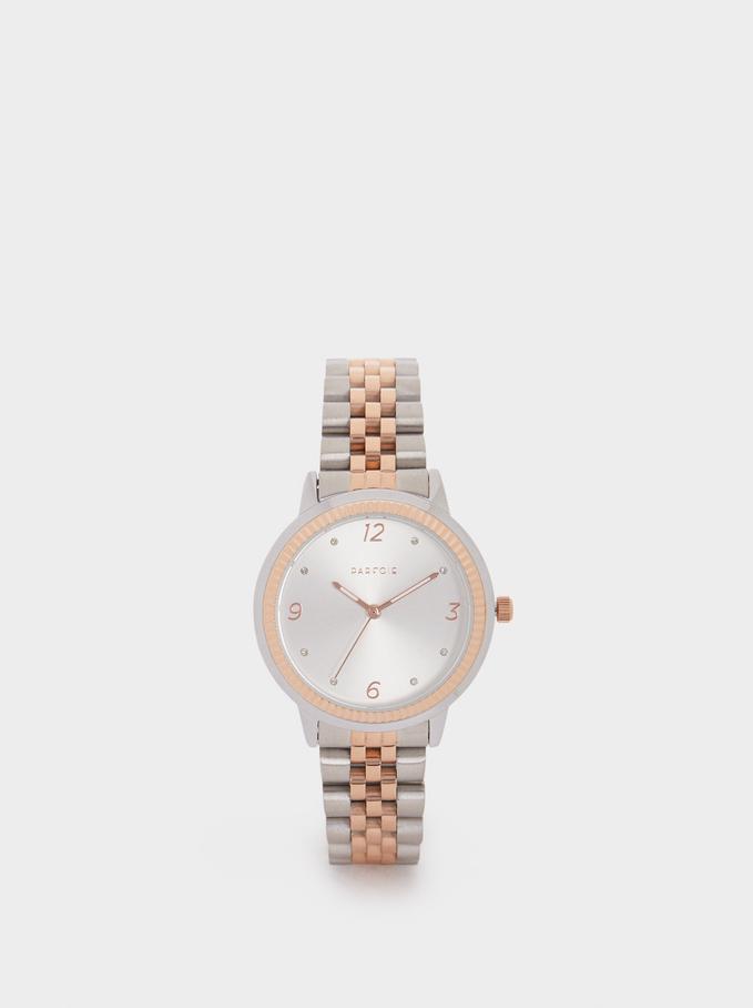 Zegarek Ze Stali Z Dwukolorowym Plecionym Paskiem, Pomaranczowy, hi-res