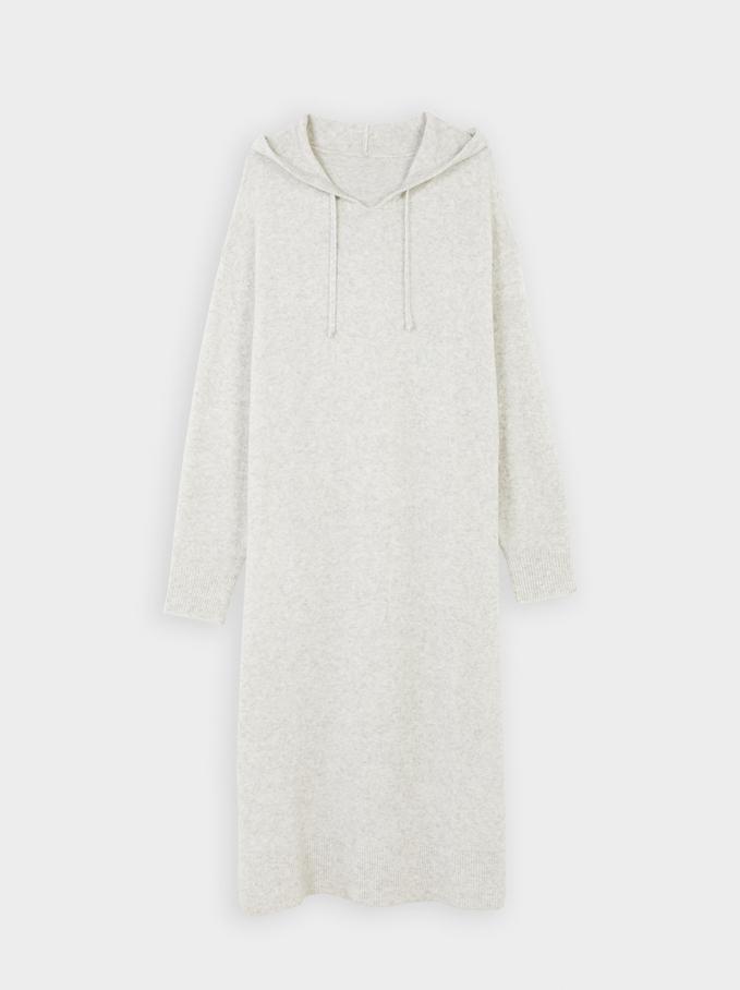 Long Knitted Dress, Grey, hi-res