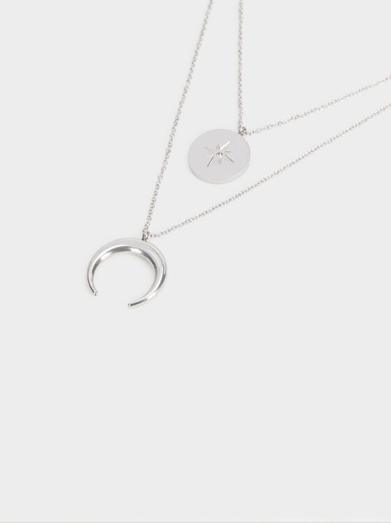 Set Of Steel Necklaces With Pendants, Silver, hi-res
