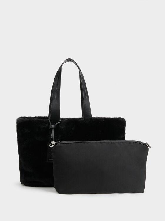 Faux Fur Tote Bag With Metallic Appliqué, Black, hi-res