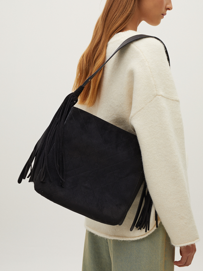 Crossbody Bag With Tassel, Black, hi-res