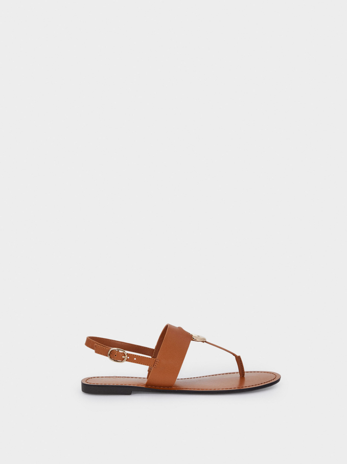 Flat Strappy Sandals, Camel, hi-res