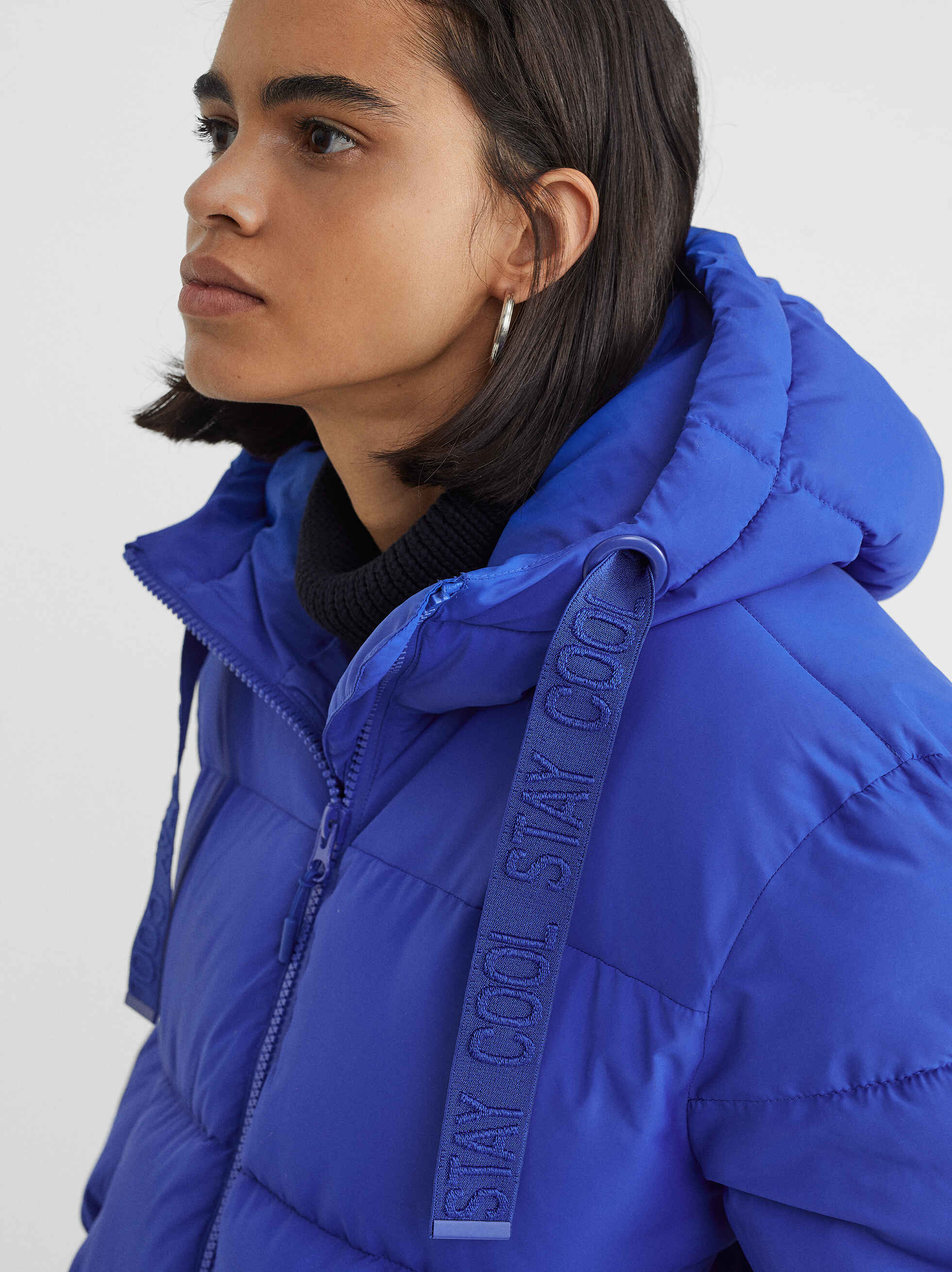 Quilted Coat With Hood, Blue, hi-res