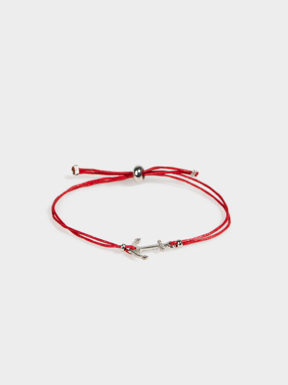 Adjustable Bracelet With Anchor, Red, hi-res