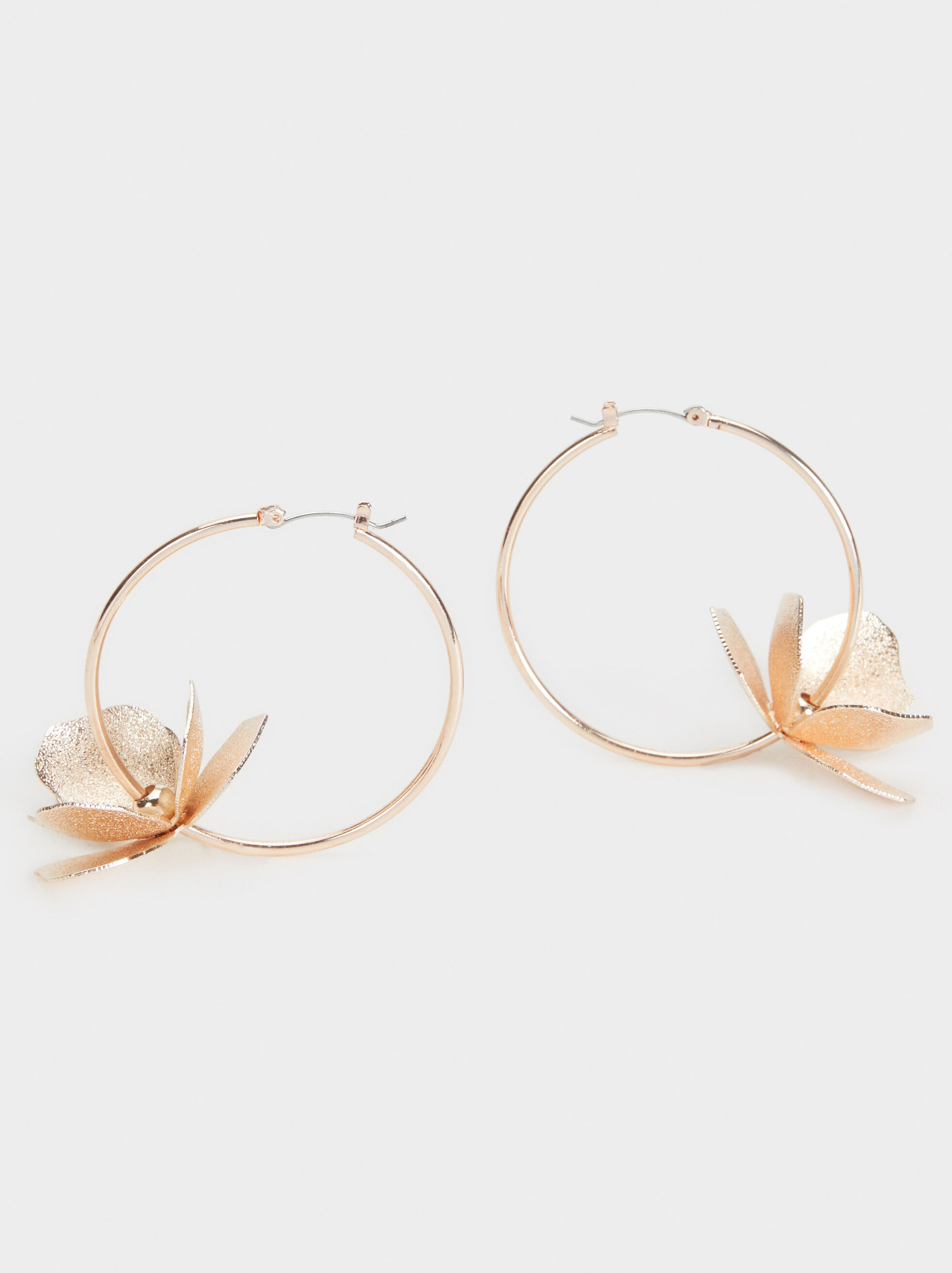 Pink Desert Large Flower Hoop Earrings, Orange, hi-res