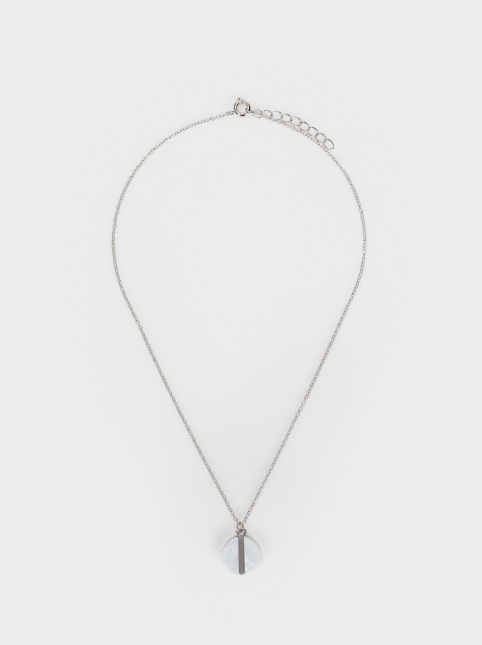 Short Necklace With Mother-Of-Pearl Pendant, Silver, hi-res