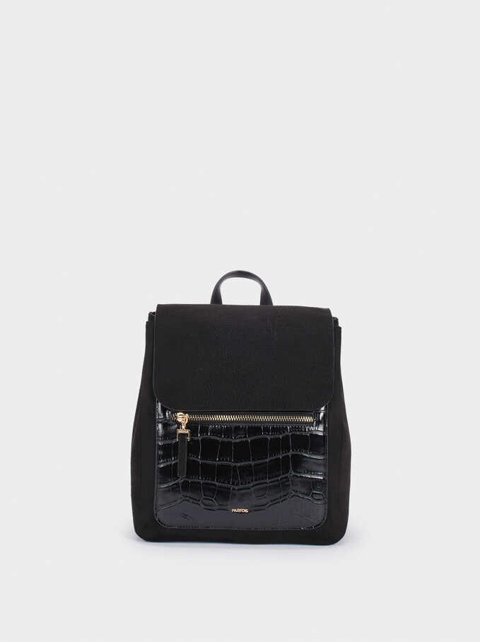 Fake Suede And Animal Skin Backpack, Black, hi-res