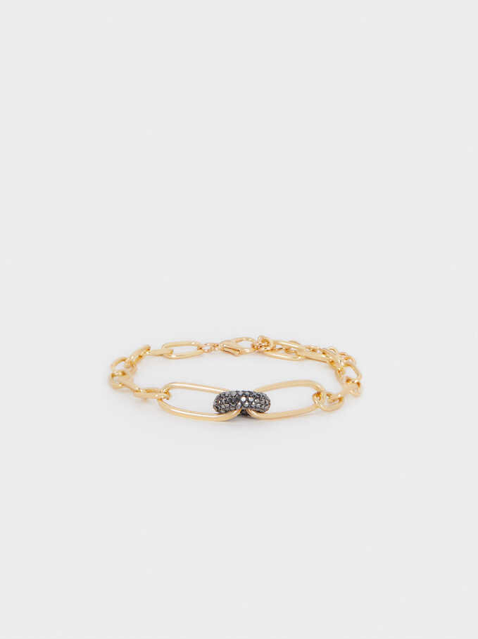 Bracelet With Links And Crystals, Multicolor, hi-res