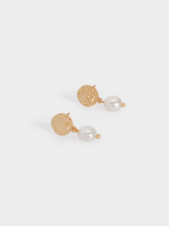 Pendientes Cortos De Plata 925 Con Perlas, Dorado, hi-res