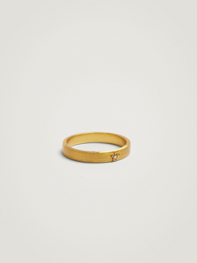 925 Silver Star Ring With Zirconia, Golden, hi-res
