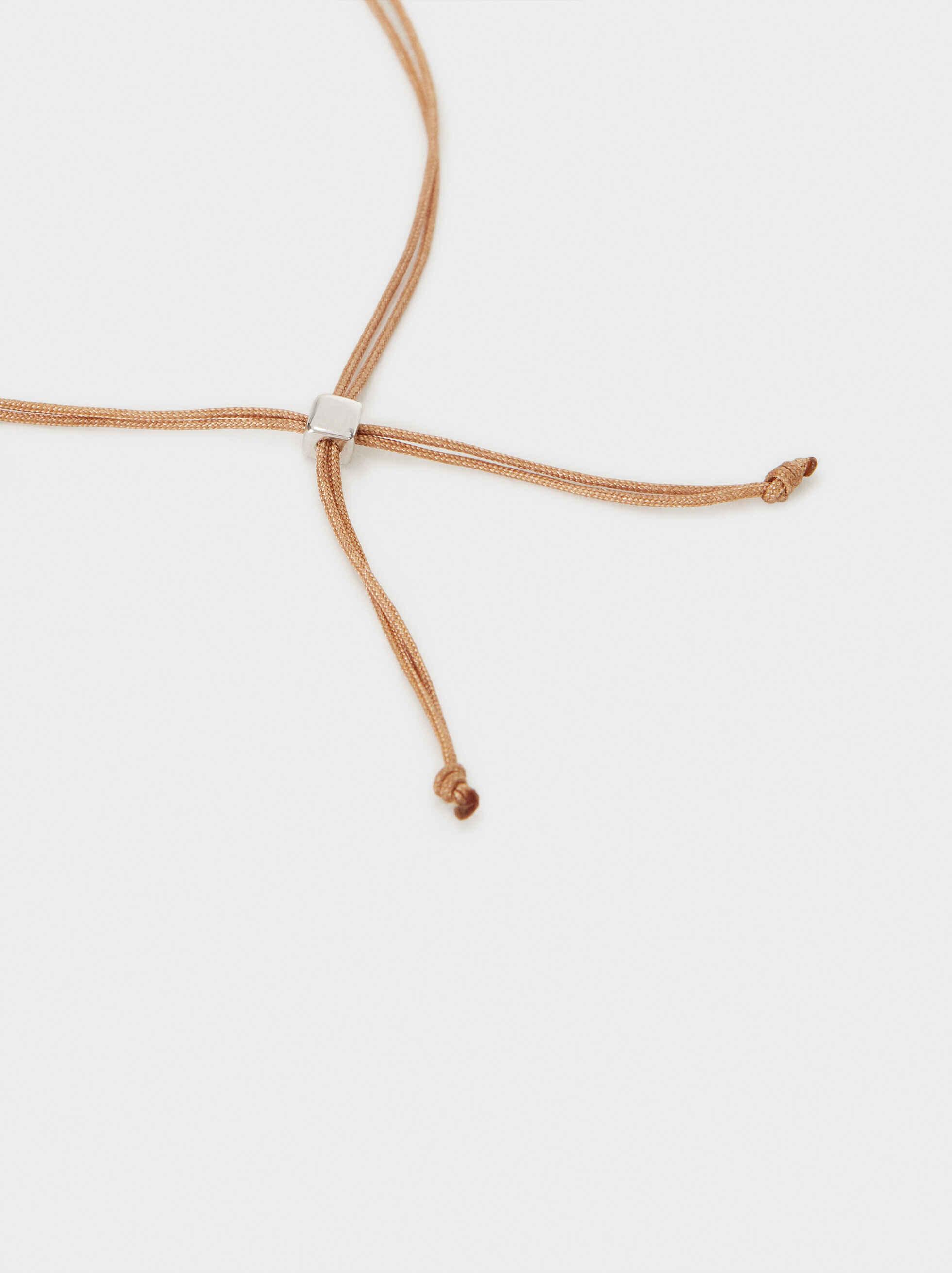 925 Silver Adjustable Bracelet With Stone, Beige, hi-res