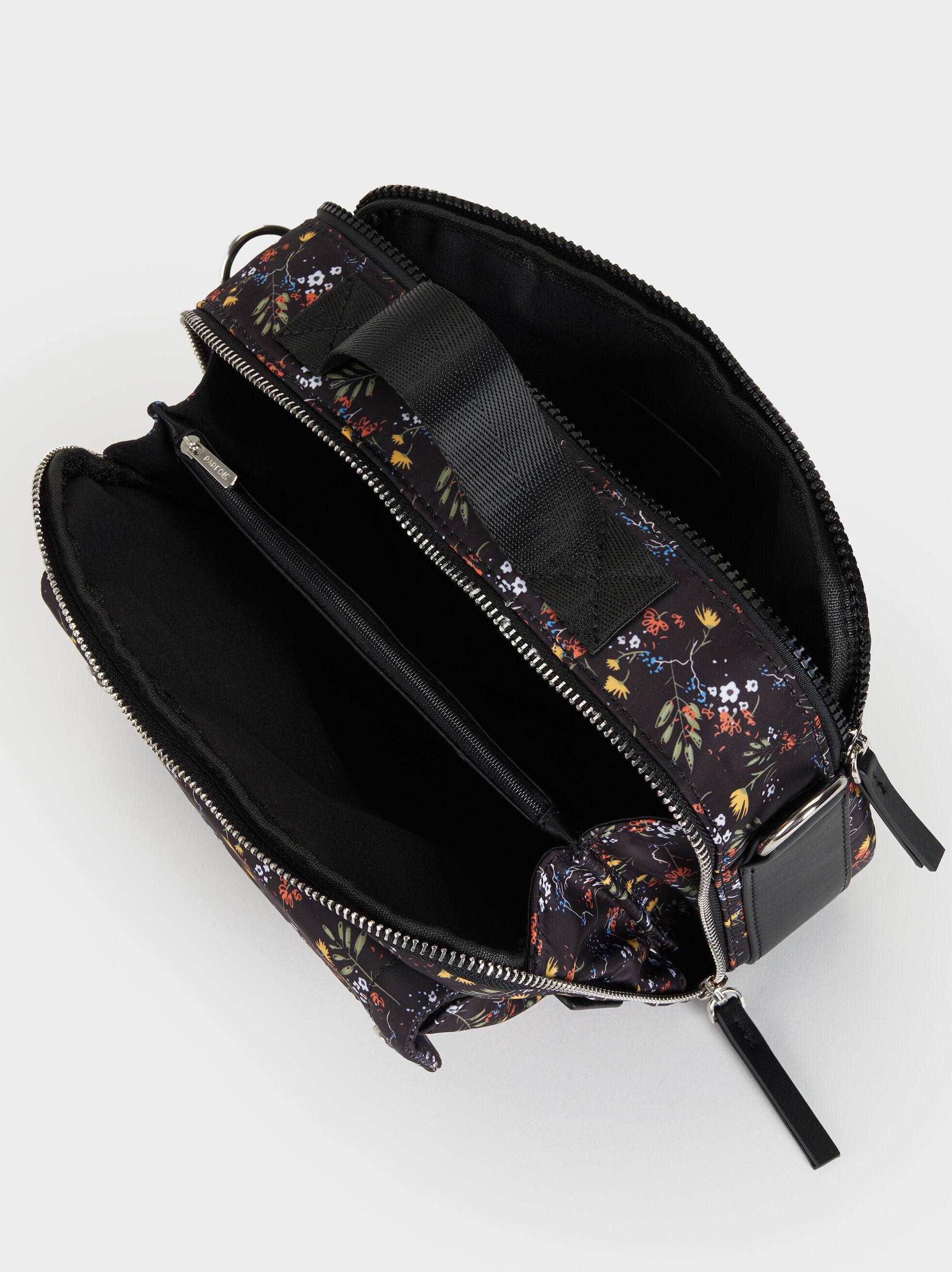 Floral Print Nylon Crossbody Bag, Black, hi-res