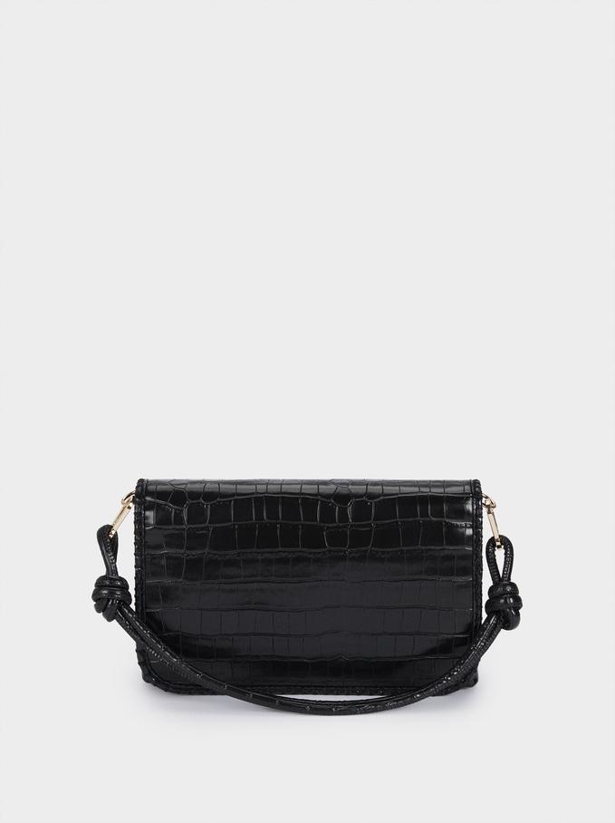 Animal Print Handbag, Black, hi-res