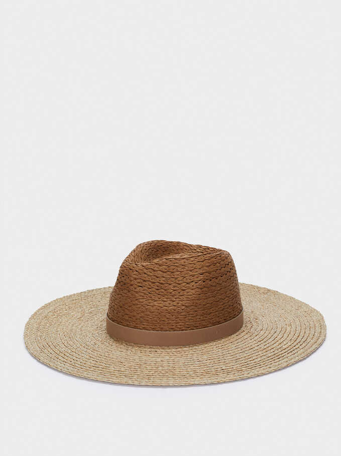 Textured Straw Hat With Contrast Band, Khaki, hi-res