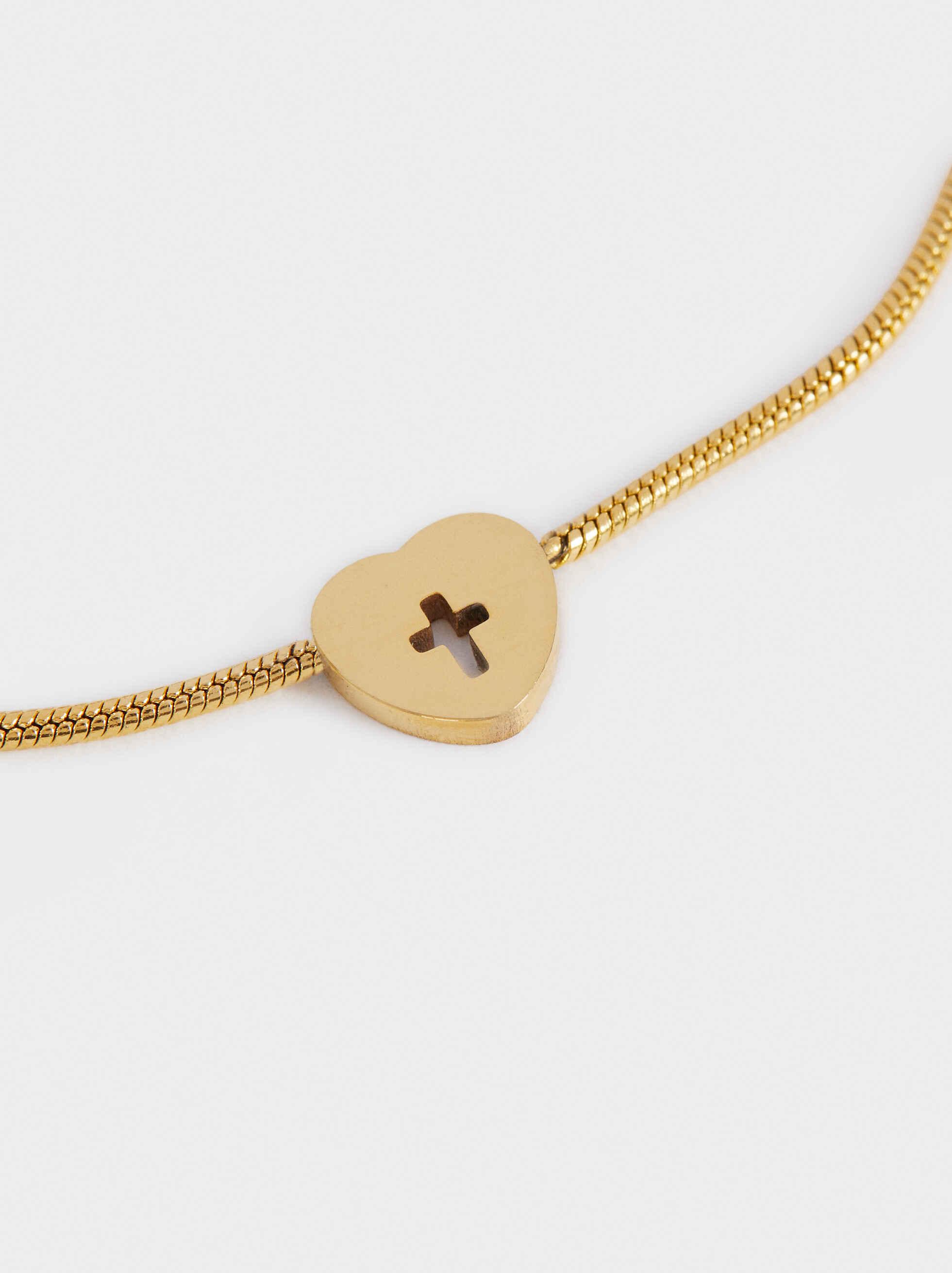 Pulsera Ajustable De Acero Con Medallas Dorada, Dorado, hi-res