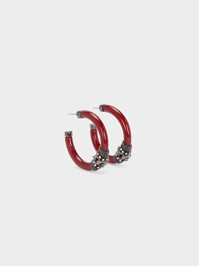 Resin Hoop Earrings With Crystals, Bordeaux, hi-res