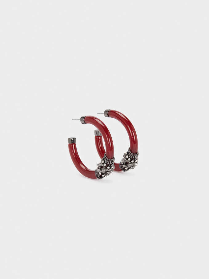Resin Hoop Earrings With Crystals, Bordeaux, hi-res