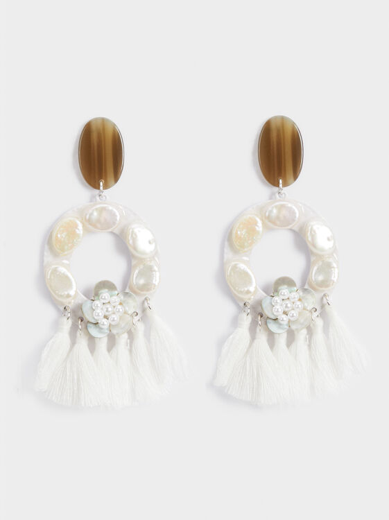 White Fields Long Earrings With Fringing, White, hi-res