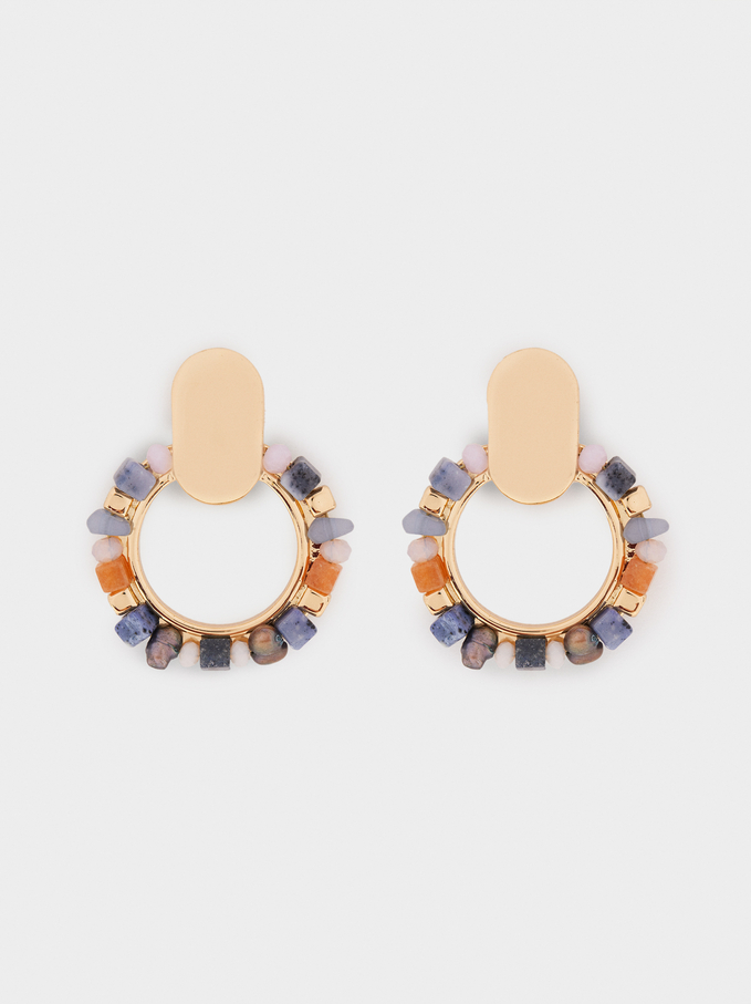 Medium Earrings With Multicoloured Stones, Multicolor, hi-res