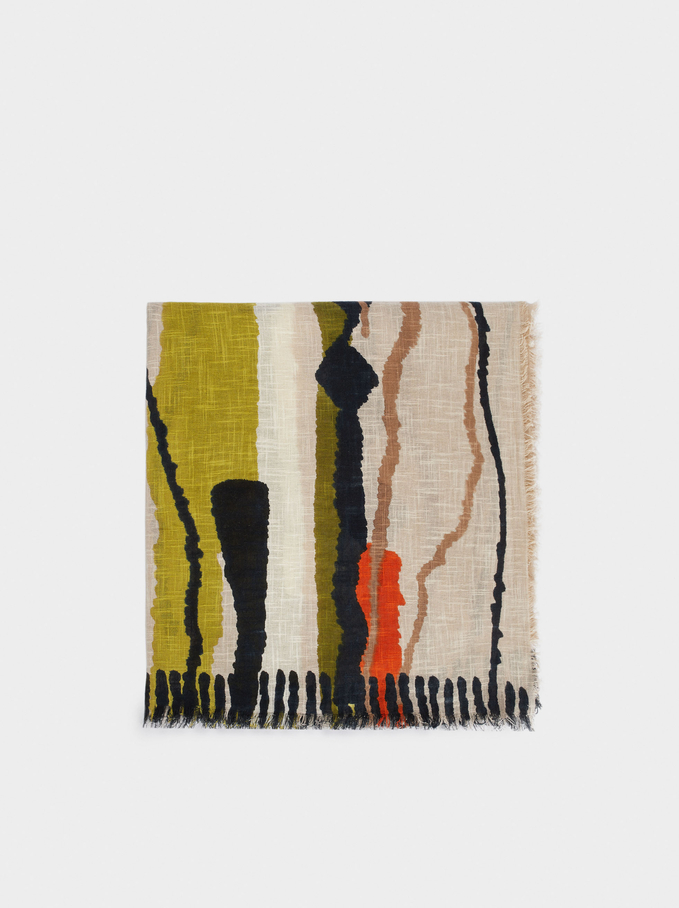 Cotton Printed Scarf, Beige, hi-res