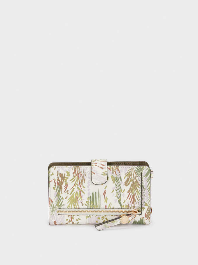 Printed Phone Case With Crossbody Strap, Pink, hi-res