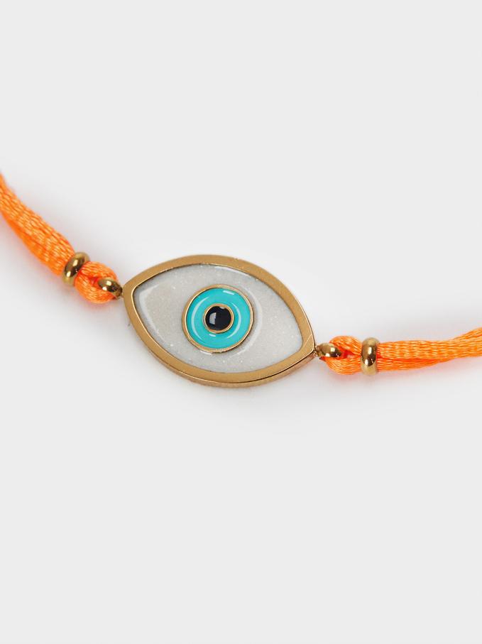 Adjustable Chain Bracelet With Eye Detail, Orange, hi-res