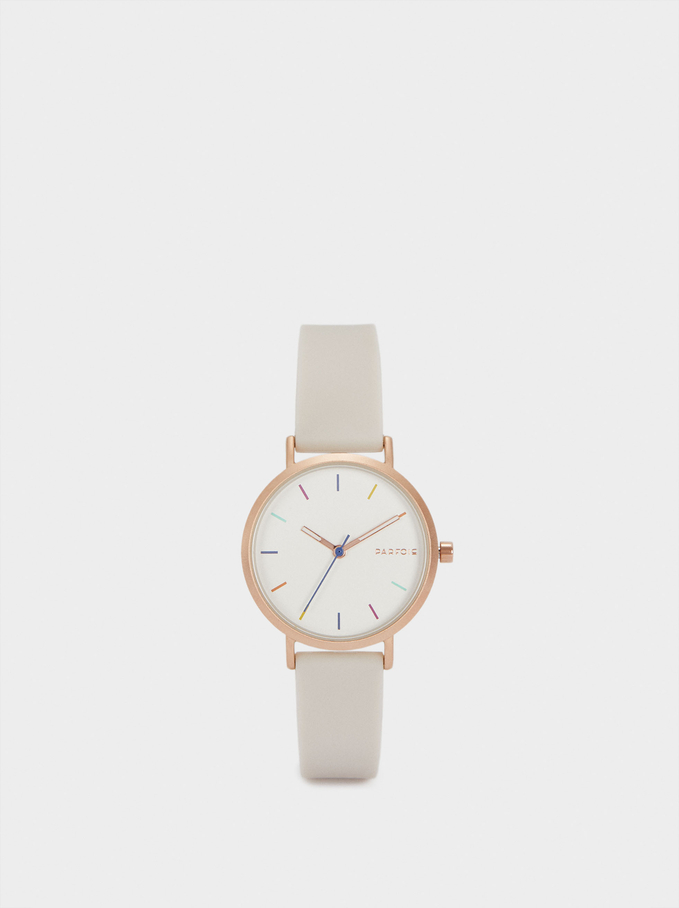 Watch With Silicone Strap And Round Face, Grey, hi-res