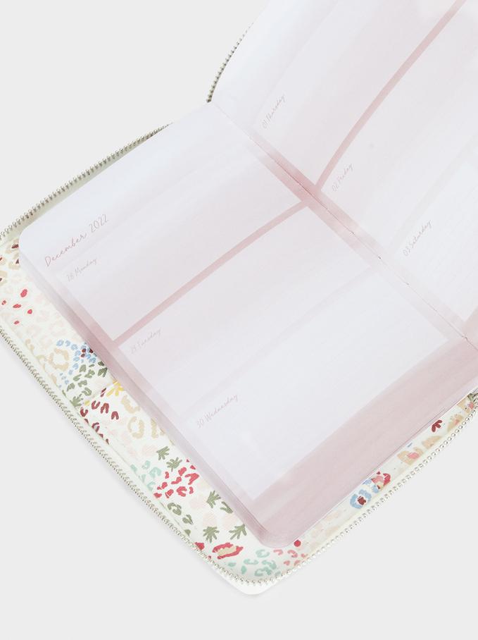 Bloc-Notes Imprimé Floral, Écru, hi-res