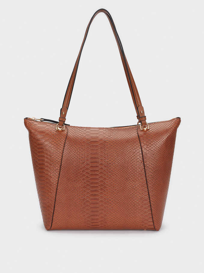 Embossed Animal Print Tote Bag With Removable Interior, Camel, hi-res