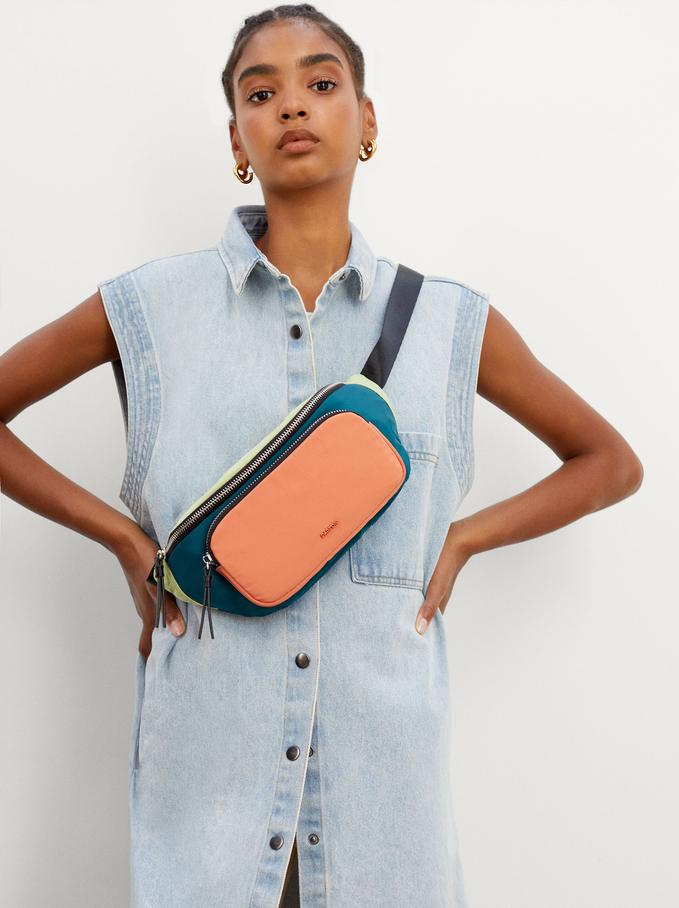 Nylon Belt Bag With Outer Pocket, Green, hi-res