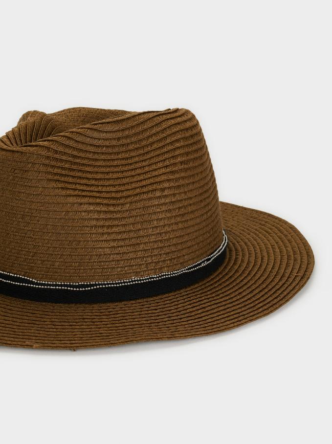 Raffia-Effect Hat, Khaki, hi-res
