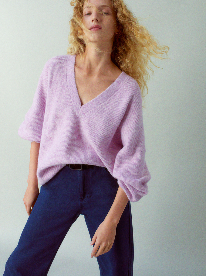 Knitted V-Neck Sweater, Pink, hi-res