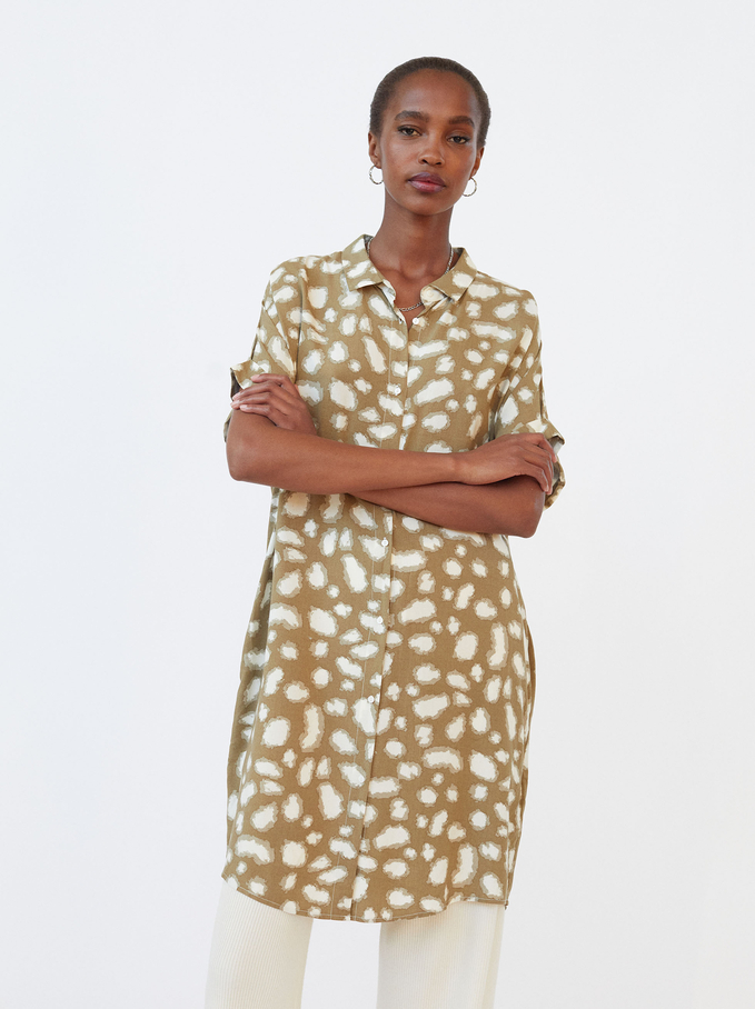 Printed Shirt Dress, Green, hi-res