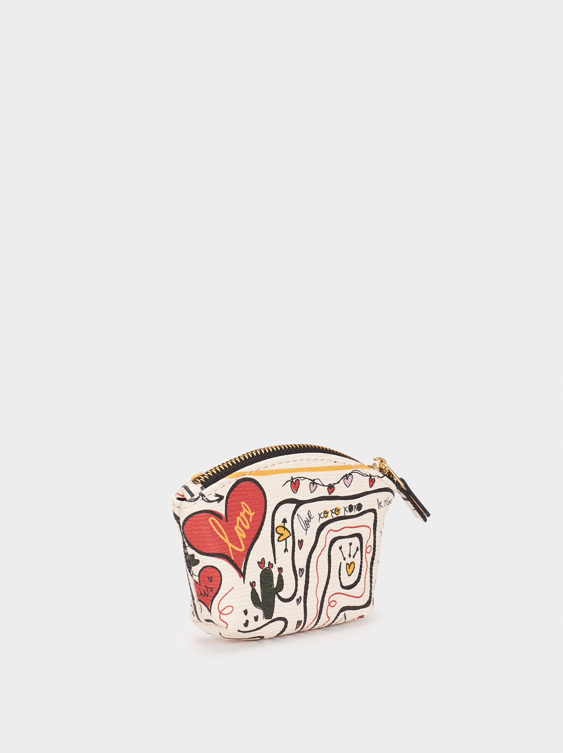 We Are Love Print Small Purse, Ecru, hi-res