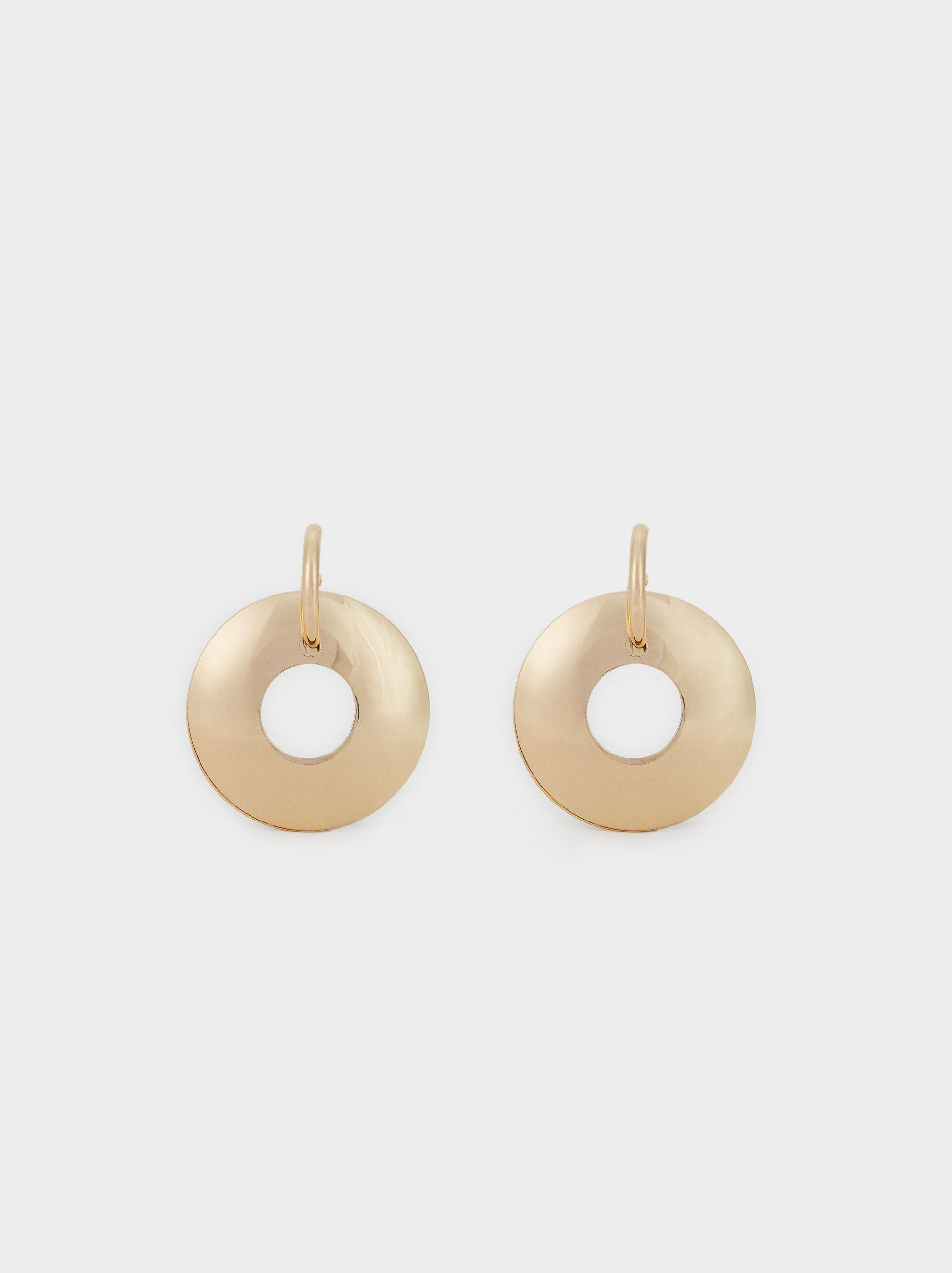 Long Circle Earrings, Golden, hi-res