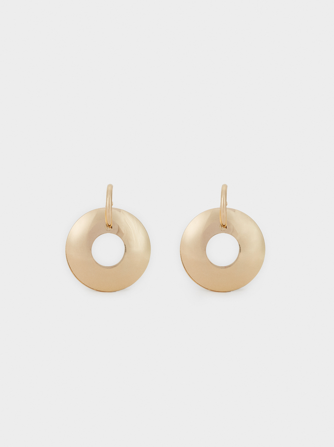 Long Basic Hoop-Earrings, Golden, hi-res