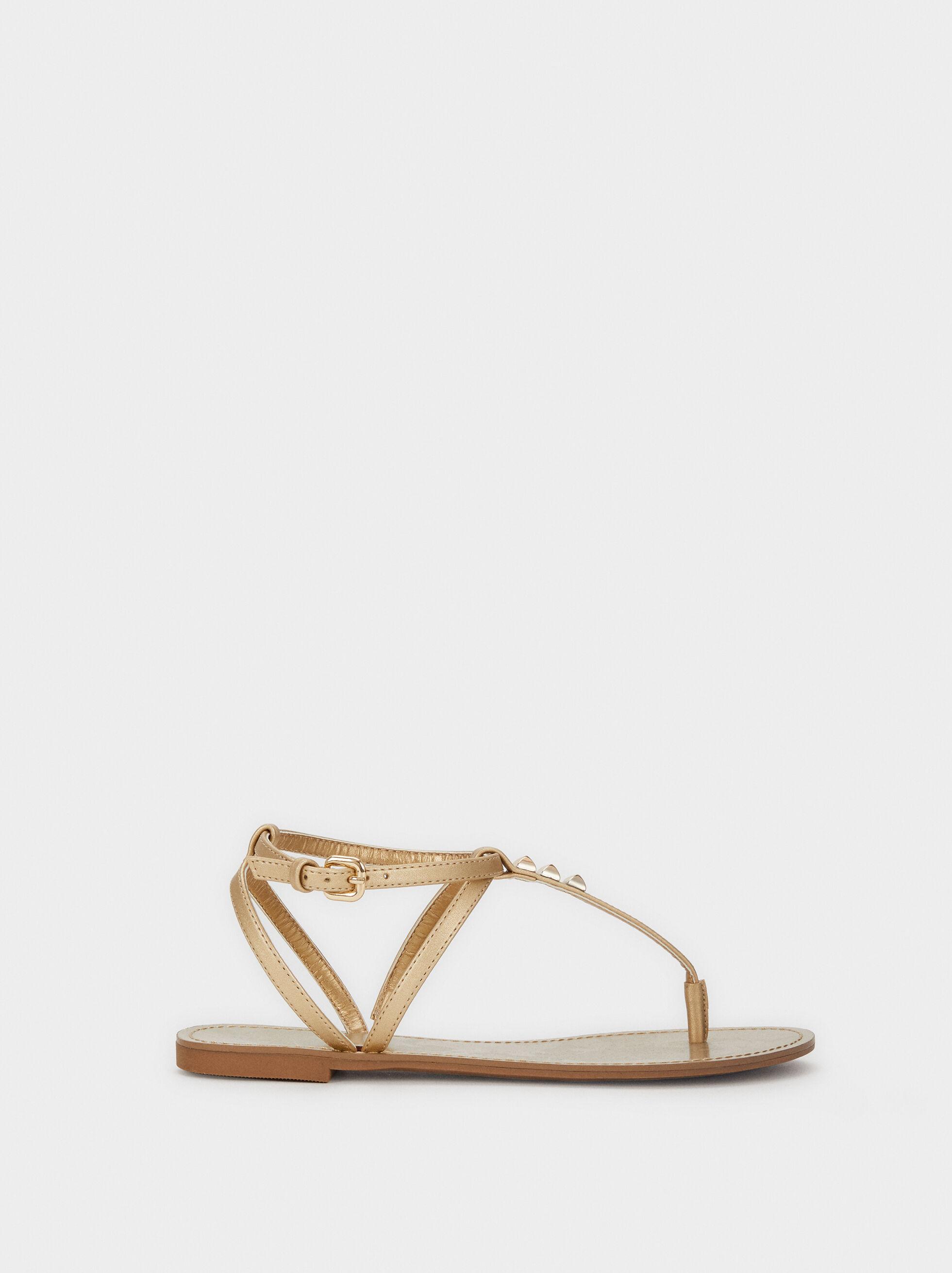 Flat Sandals With Stud Details, Golden, hi-res