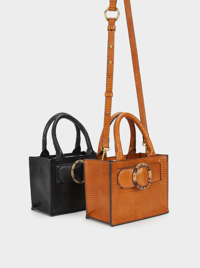 Shoulder Bag With Tortoiseshell Buckle, Camel, hi-res