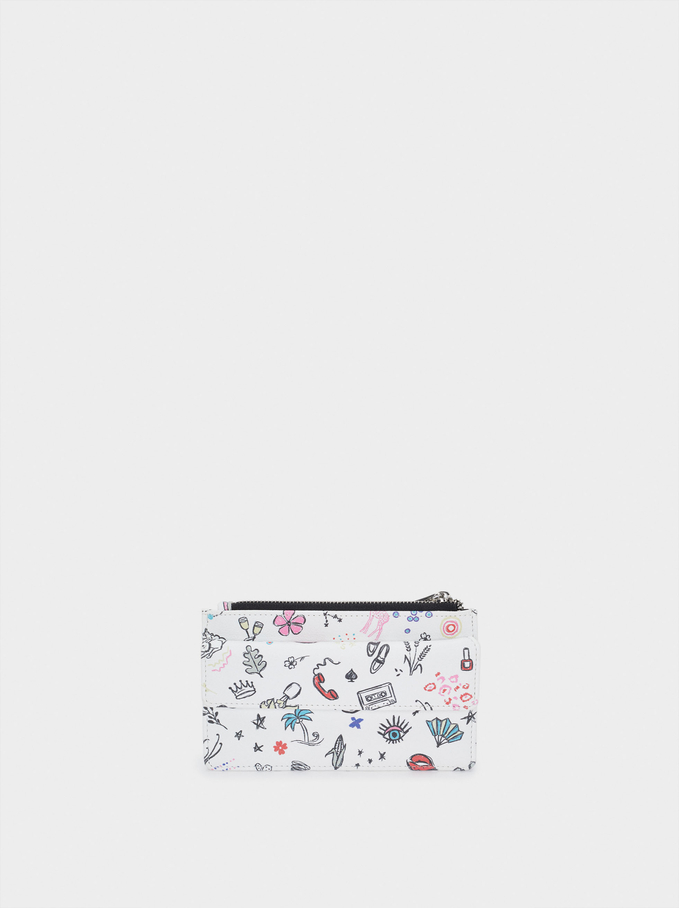 Printed Card Holder With Coin Purse, White, hi-res
