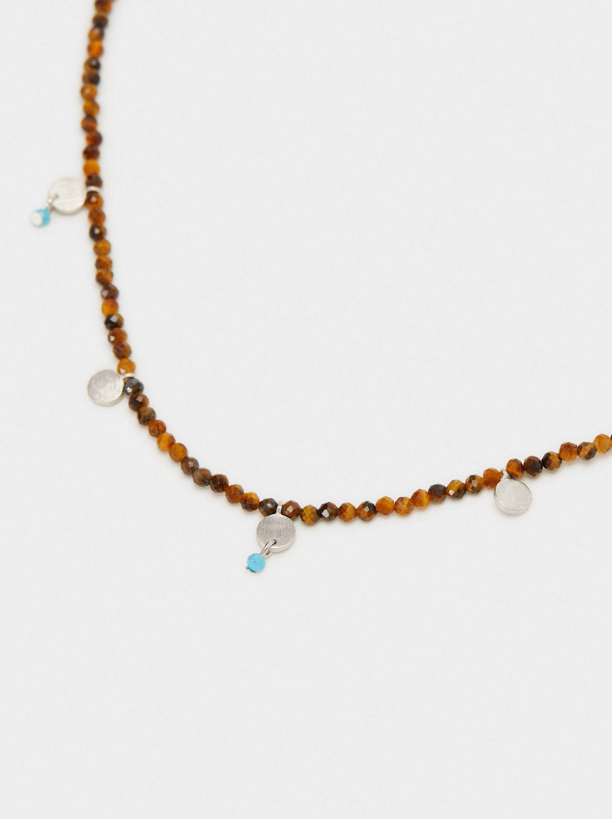 925 Silver Short Beaded Necklace, Beige, hi-res