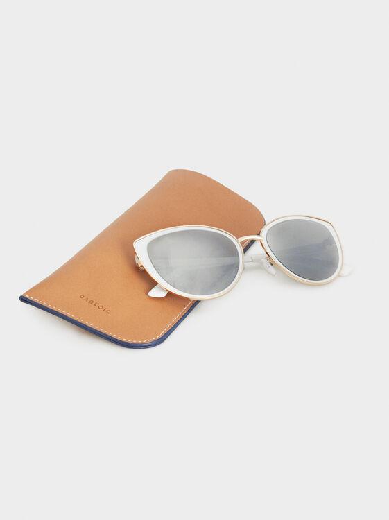 Cat-Eye Sunglasses, White, hi-res