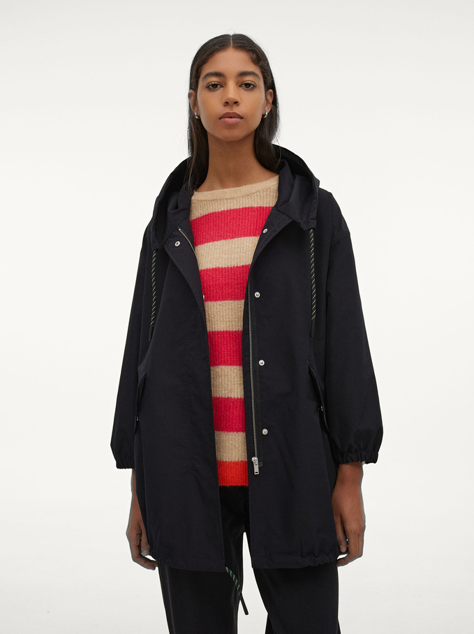 Waterproof Jacket With Pockets, Black, hi-res