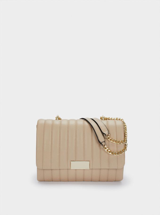 Quilted Shoulder Bag With Contrast Strap, Ecru, hi-res