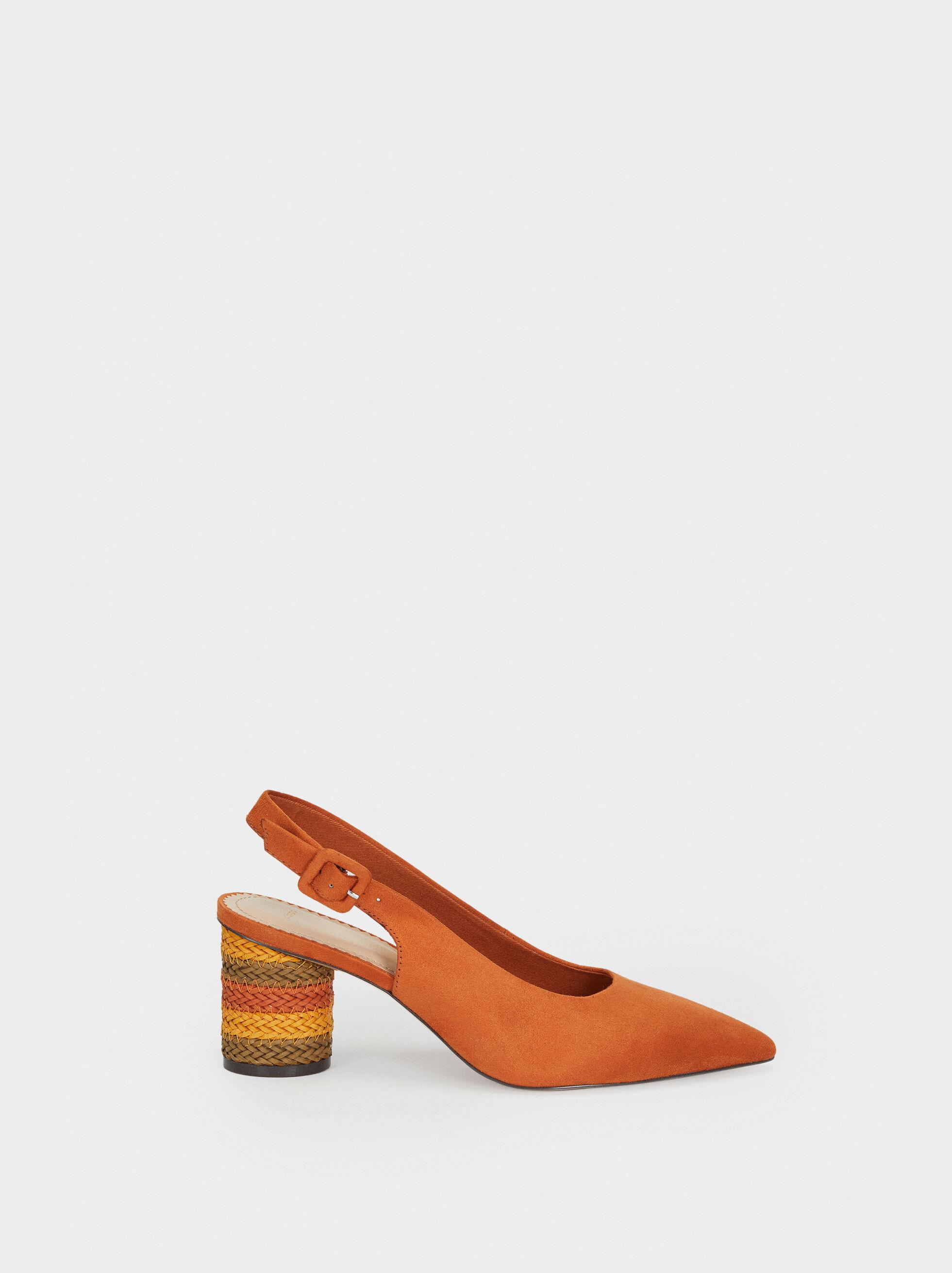 Mid-Heel Shoes With Multicoloured Plaited Heel, Orange, hi-res
