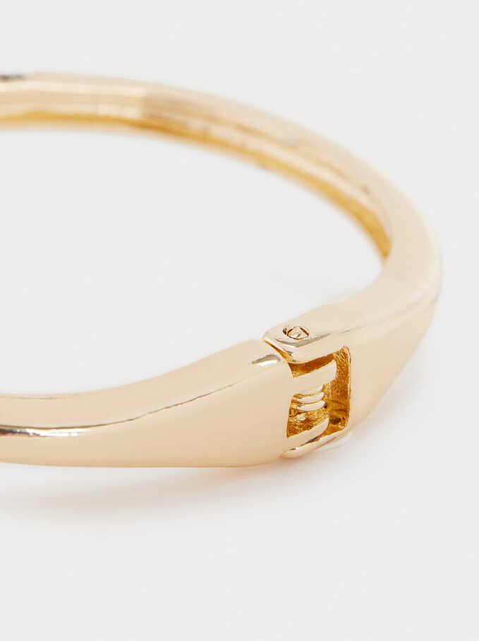 Snake Rigid Bracelet, Golden, hi-res
