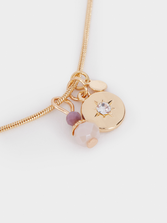 Short Necklace With Pendants And Crystals, Violet, hi-res